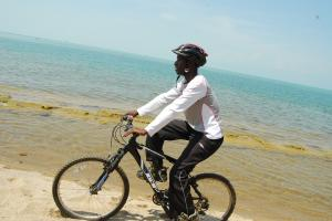 Cycling a long the Lake Kivu on Congo-Nile Trail