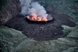 Lava boiling in crater  of Nyiragongo